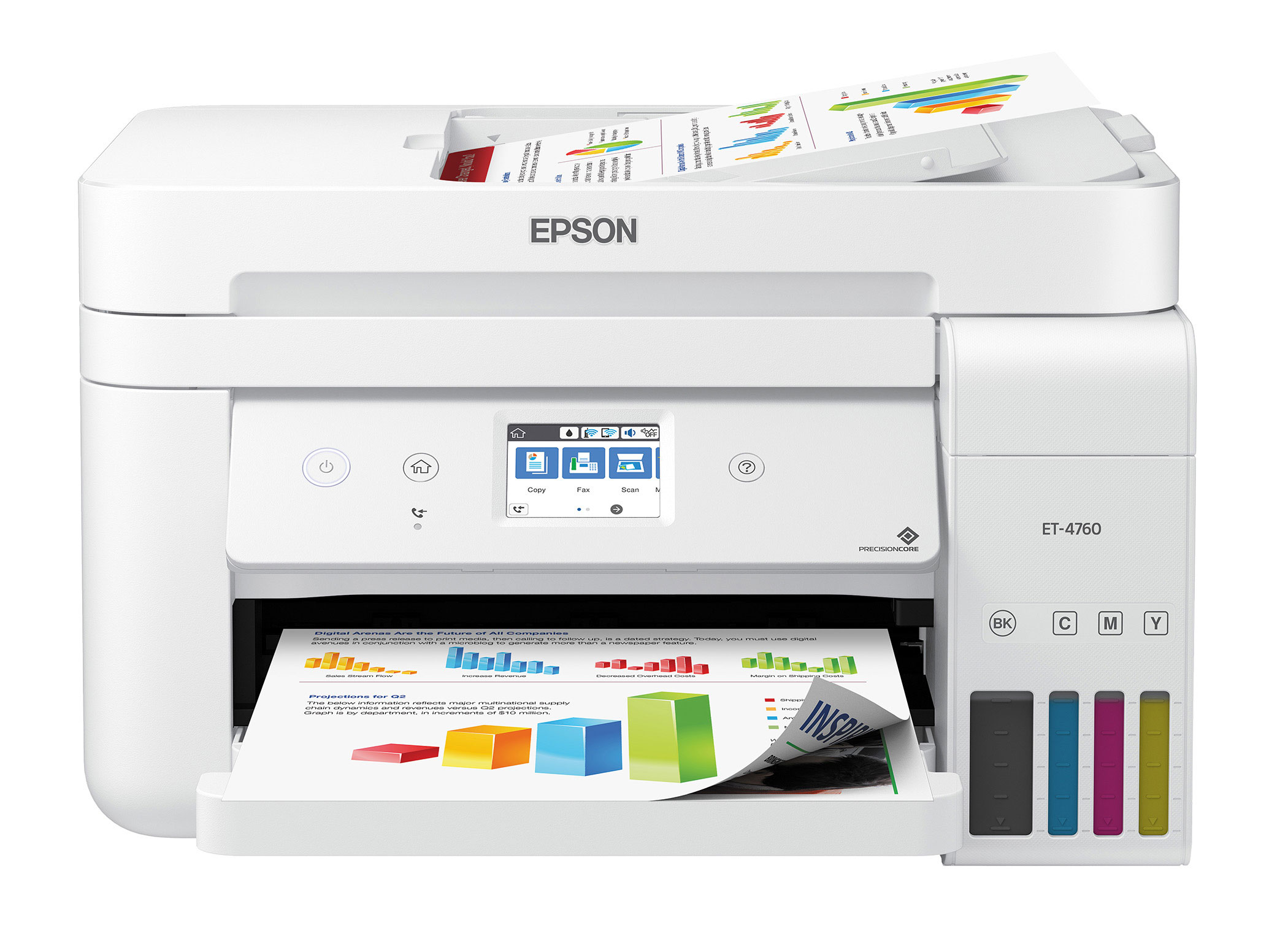 The Epson EcoTank ET-4760 All-in-One Supertank Printer offers fast, wireless, cartridge-free printing with ADF and fax for the office.