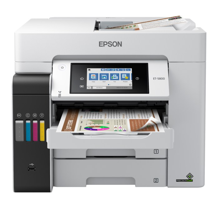 The EcoTank Pro ET-5800 wireless all-in-one printer offers cartridge-free printing with easy-to-fill supersized ink tanks, designed to provide reliable, cost-effective and feature-rich printing to small businesses, home offices and workgroups