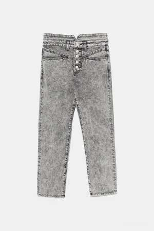 Acid Wash Straight Jeans