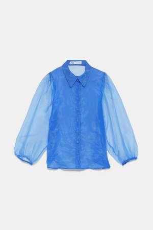 Blue Organza Puff sleeve blouse