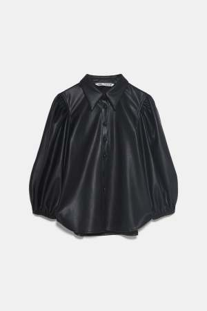 Black faux leather shirt