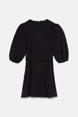 Black belt puff sleeve dress
