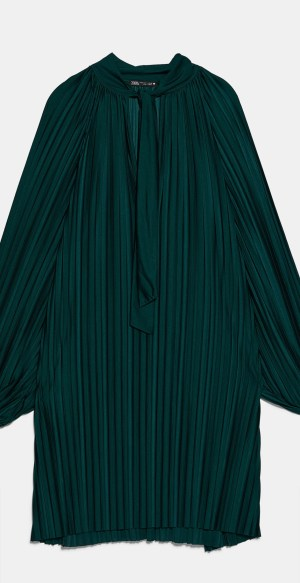 Green pleat dress