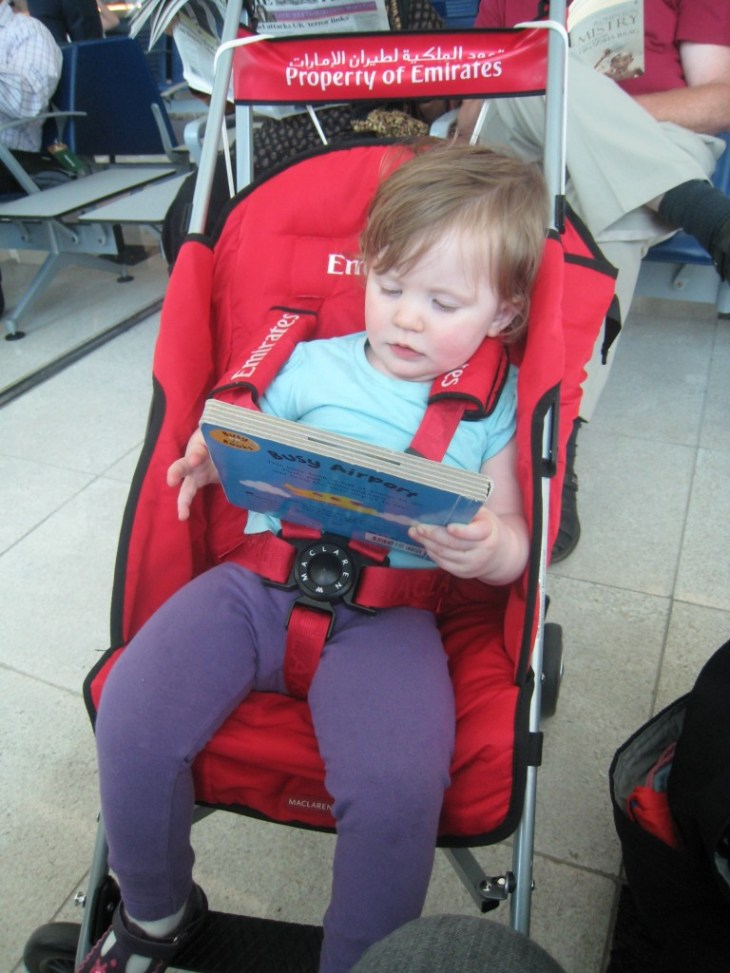 Toddler in a Stroller at Dubai International