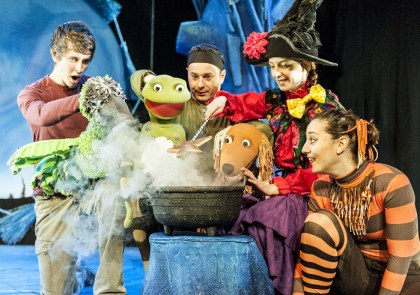 L-R-Sam-Donovan-Bird_Dragon-David-Garrud-Dog_Frog-Morag-Cross-Witch-Emma-MacLennan-Cat-in-Room-On-The-Broom-Lyric-Theatre-Shaftesbury-Avenue-Photo-Patrick-Baldwin