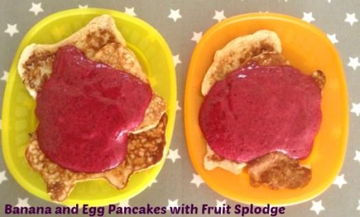banana and egg pancakes and fruit splodge