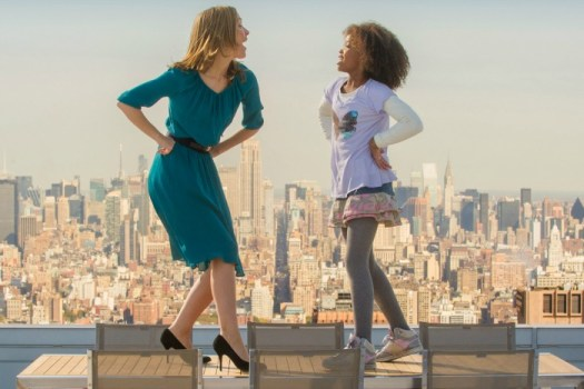 """ANNIE - 2014 FILM STILL - Grace (Rose Byrne) and Annie (QuvenzhanŽ Wallis) sing """"I Think I'm Gonna Like it Here"""" on Stacks' terrace - Photo Credit: Barry Wetcher © 2014 CTMG, Inc. All Rights Reserved. ALL IMAGES ARE PROPERTY OF SONY PICTURES ENTERTAINMENT INC. FOR PROMOTIONAL USE ONLY. SALE, DUPLICATION OR TRANSFER OF THIS MATERIAL IS STRICTLY PROHIBITED."""