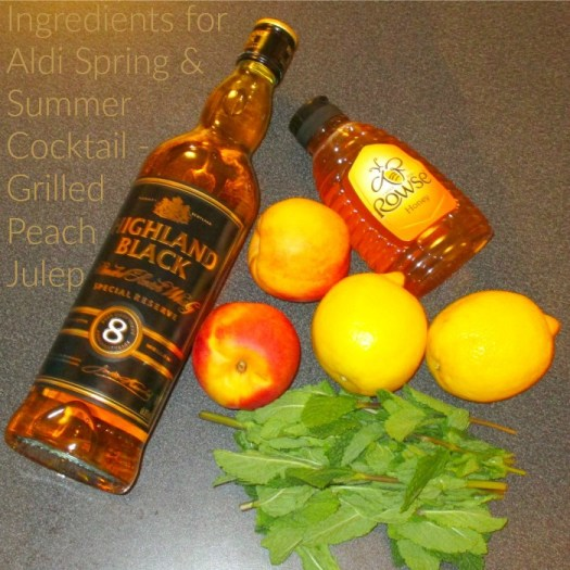 Ingredients for Aldi Spring and Summer Cocktail Grilled Peach Julep