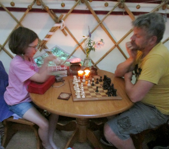 Playing Chess in the yurt