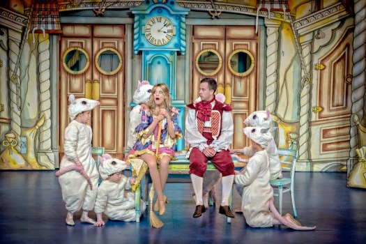 Suzy Cooper and Harry Hughes plus mice at Cinderella at York Theatre Royal. Photo by Anthony Robling