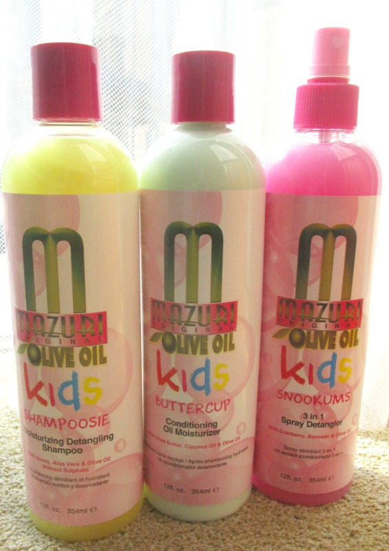 bottles of mazuri kids haircare