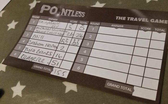 Pointless mini game scoresheet example