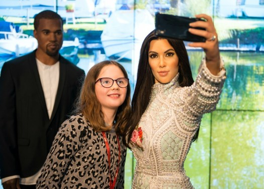 H, Kim and Kanye at Madame Tussauds Fake News Workshop