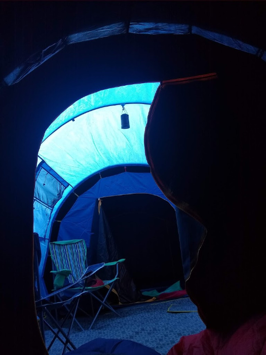 Inside the Zenobia 6 tent during daylight from the bedroom (blackout) area. Gives an idea of space and also the darkness. Bought a tent.