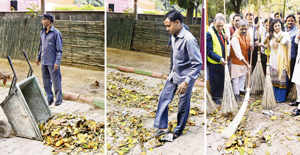 BJP left red-faced after Delhi unit chief cleans stage-managed garbage