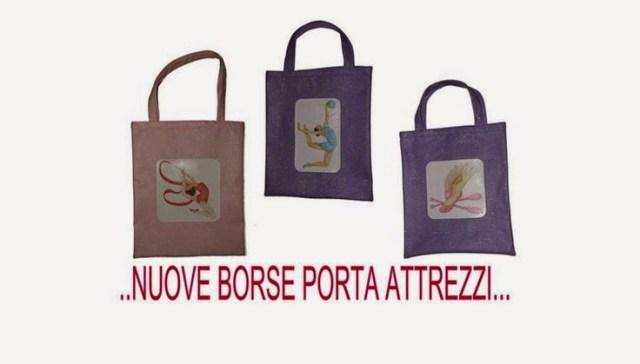 borse porta attrezzi con disegni fatti a mano per ginnastica artistica e ritmica