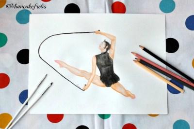 ginnasta dipinta a mano con fune di mumcakefrelis