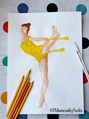 ginnasta con clavette dipinta a mano mumcakefrelis