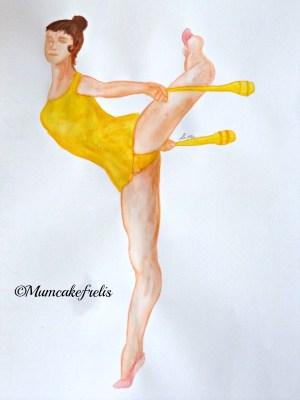 ginnasta dipinta a mano con body e clavette gialle