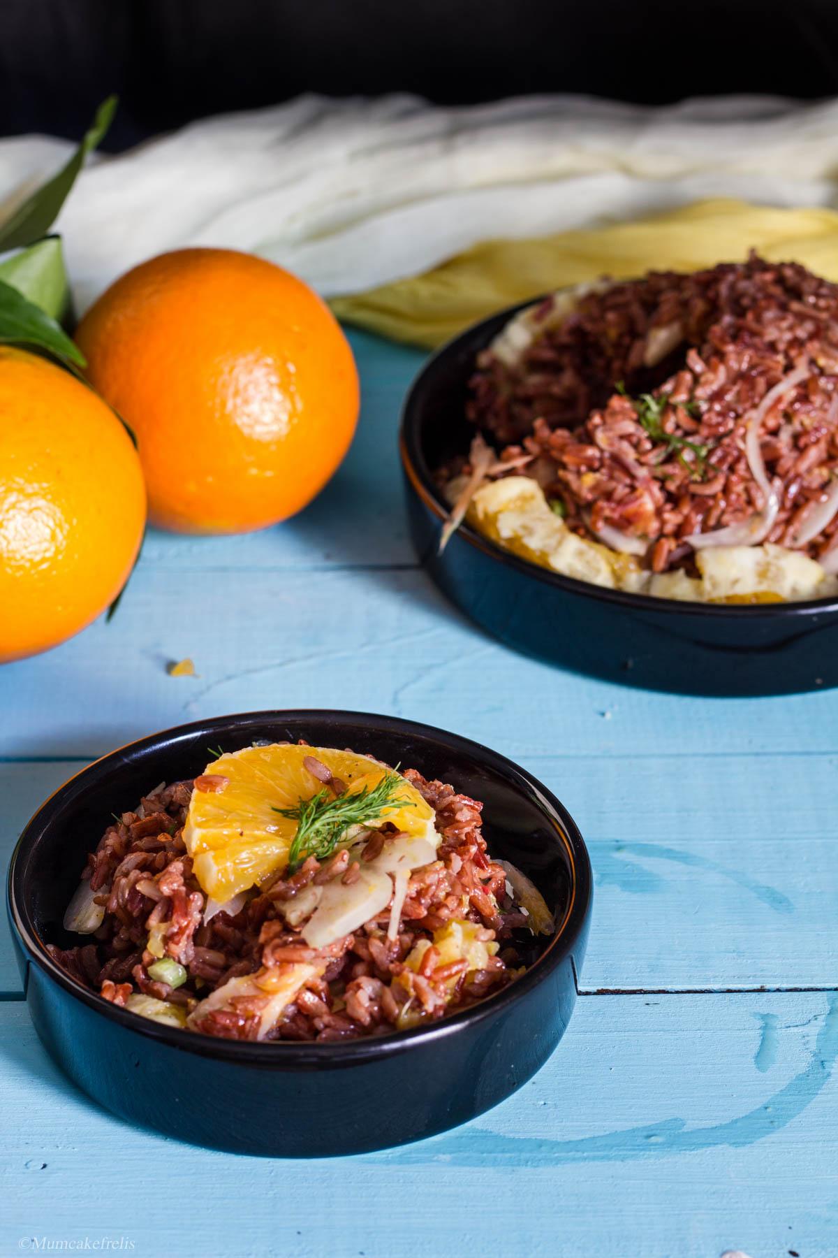 riso rosso con finocchi e arance