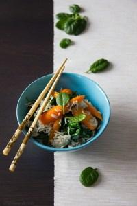 riso pilaf con spinaci e carote