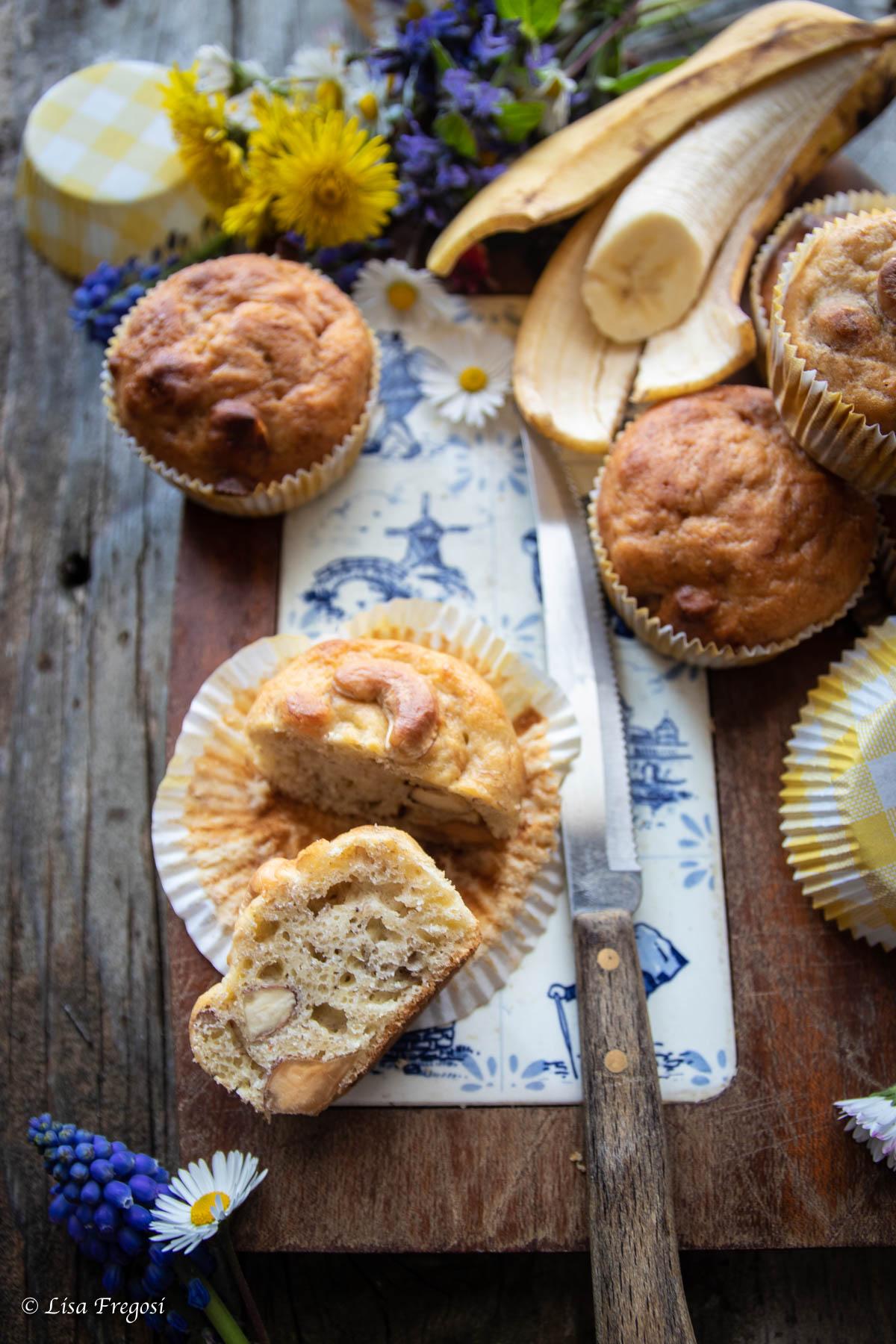 muffin alla banana con noci