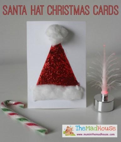 Santa Crafts Kids Can Make - santa hats christmas cards