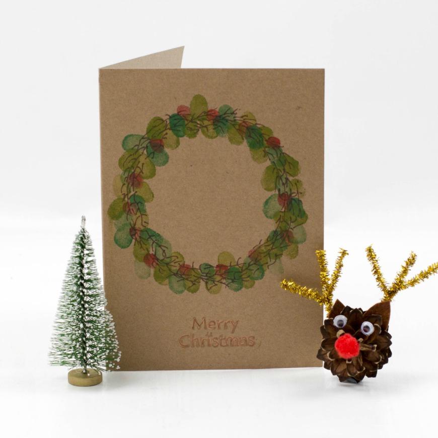 Kid Made Fingerprint Wreath Christmas Card Mum In The