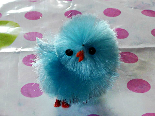 blue Easter chicken