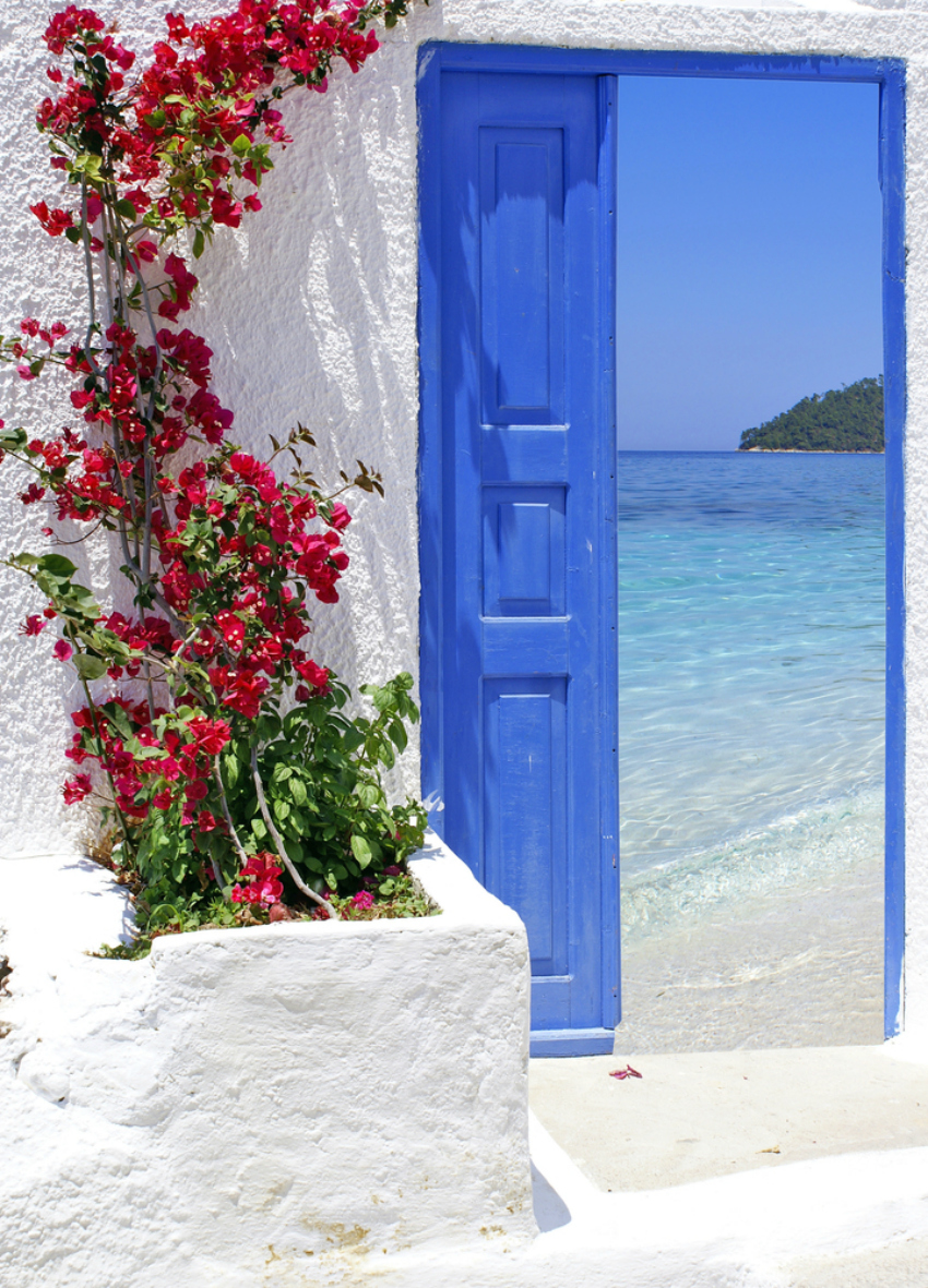 blue door santorini