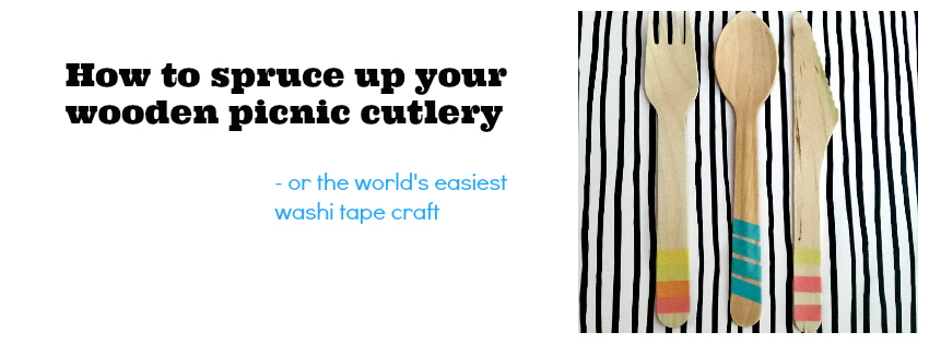 spruce up your wooden cutlery with washi tape, washi tape crafts, washi tape ideas