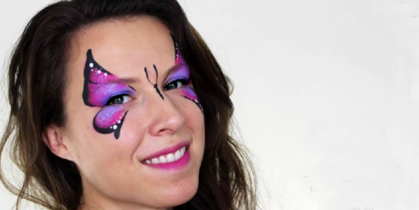 elegant butterfly face-painting