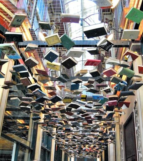 Suspended books in Leadenhall Market