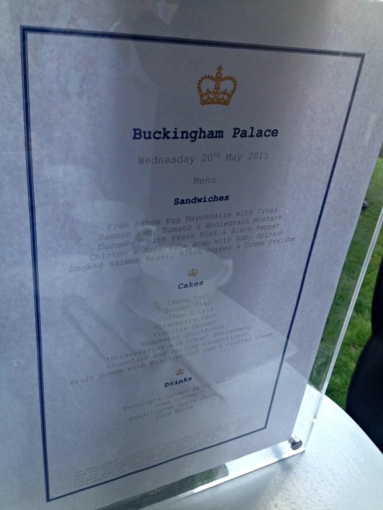 Menu from Buckingham Palace