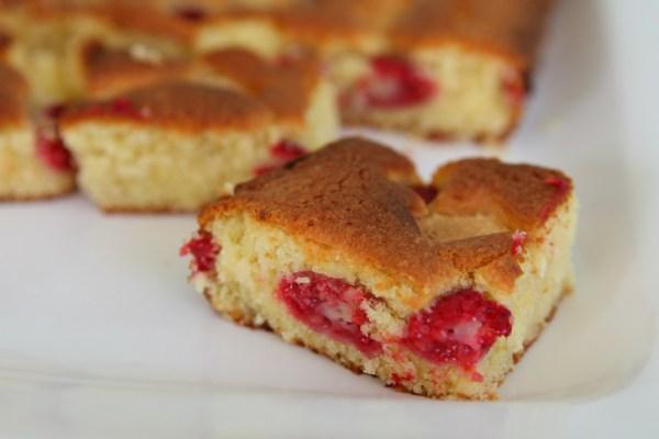 Raspberry & White Chocolate Traybake