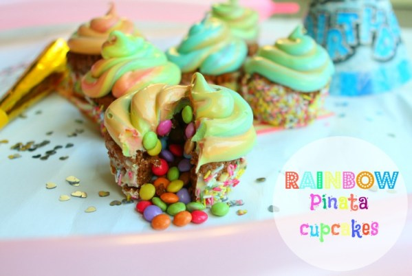 Rainbow Pinata Cupcakes