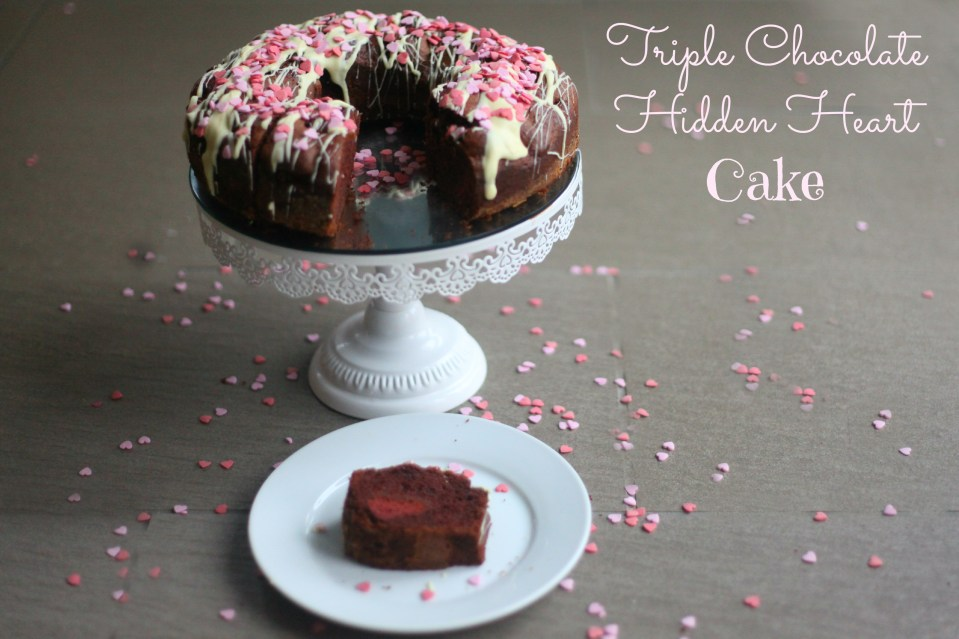Triple Chocolate Hidden Heart Cake