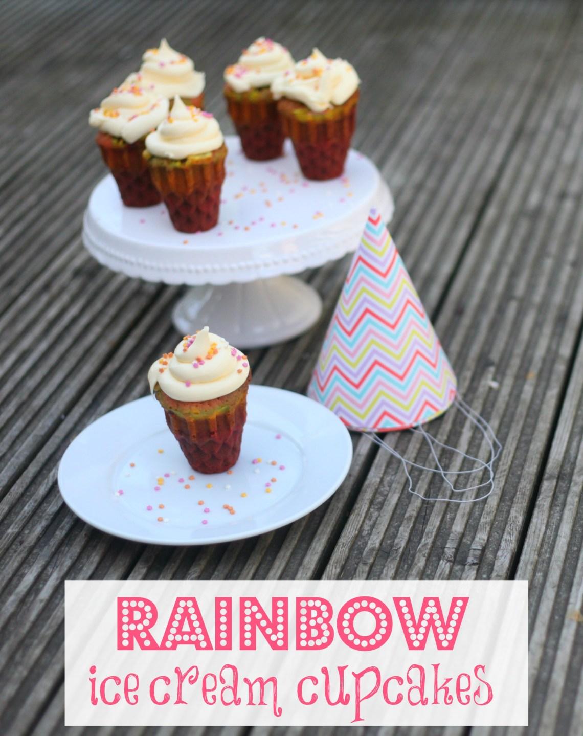 rainbow ice cream cupcakes