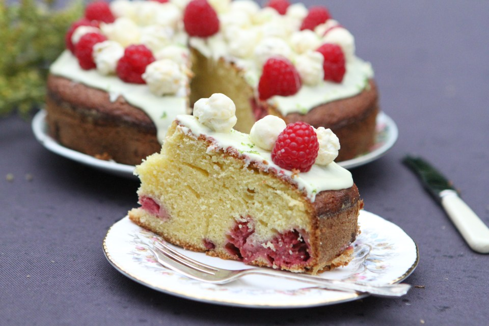 White Chocolate, Lime and Raspberry Cake with Yogurt Popcorn Topping