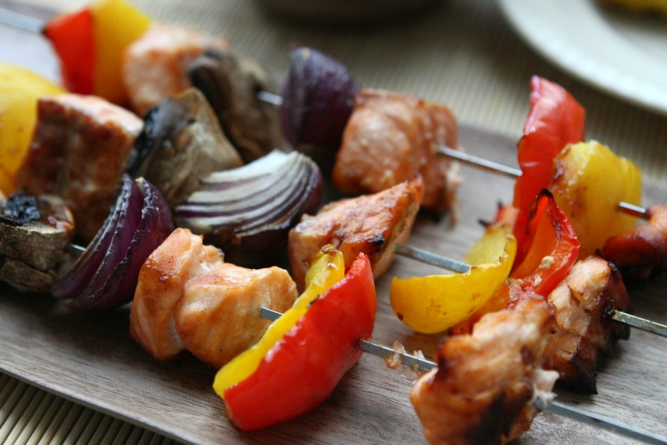 Barbecue Salmon Rainbow Kebabs