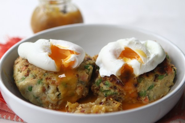 Curried Potato and Vegetable Cakes with a Spiced Mango Jam