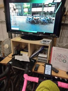 Watching the virtual women's tour on the turbo