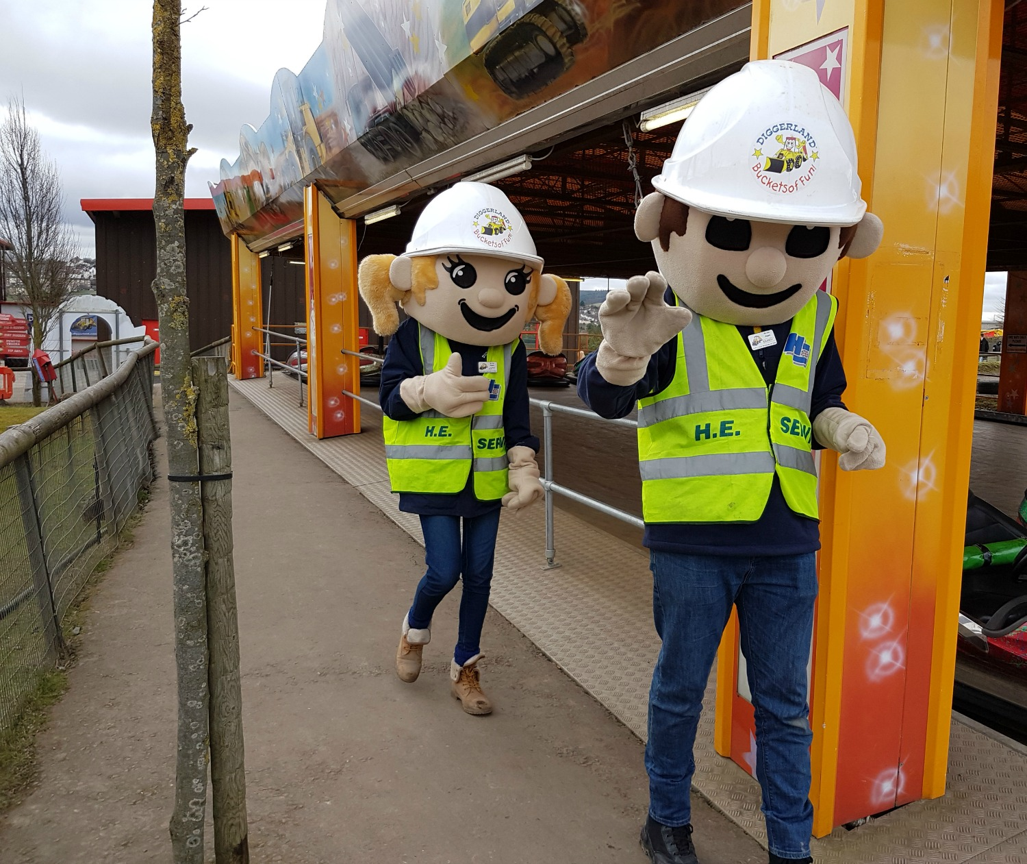 The two park characters wandering around Diggerland Kent on our family day out
