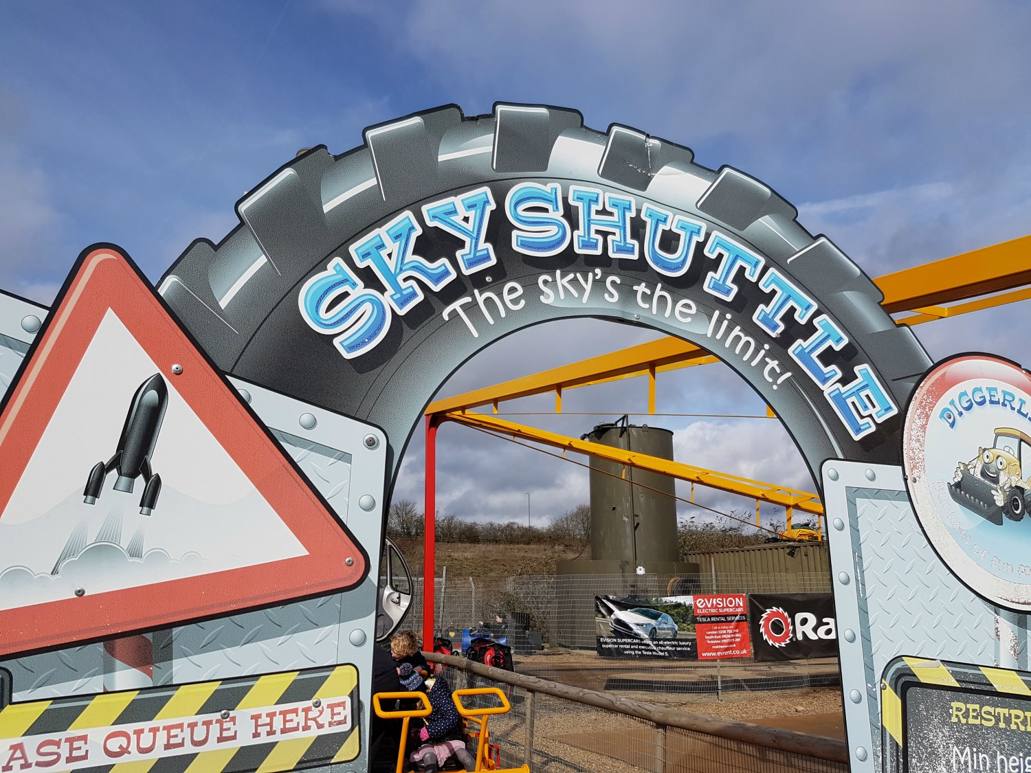 The Sky Shuttle ride at Diggerland Kent - one of the attractions on this family day out