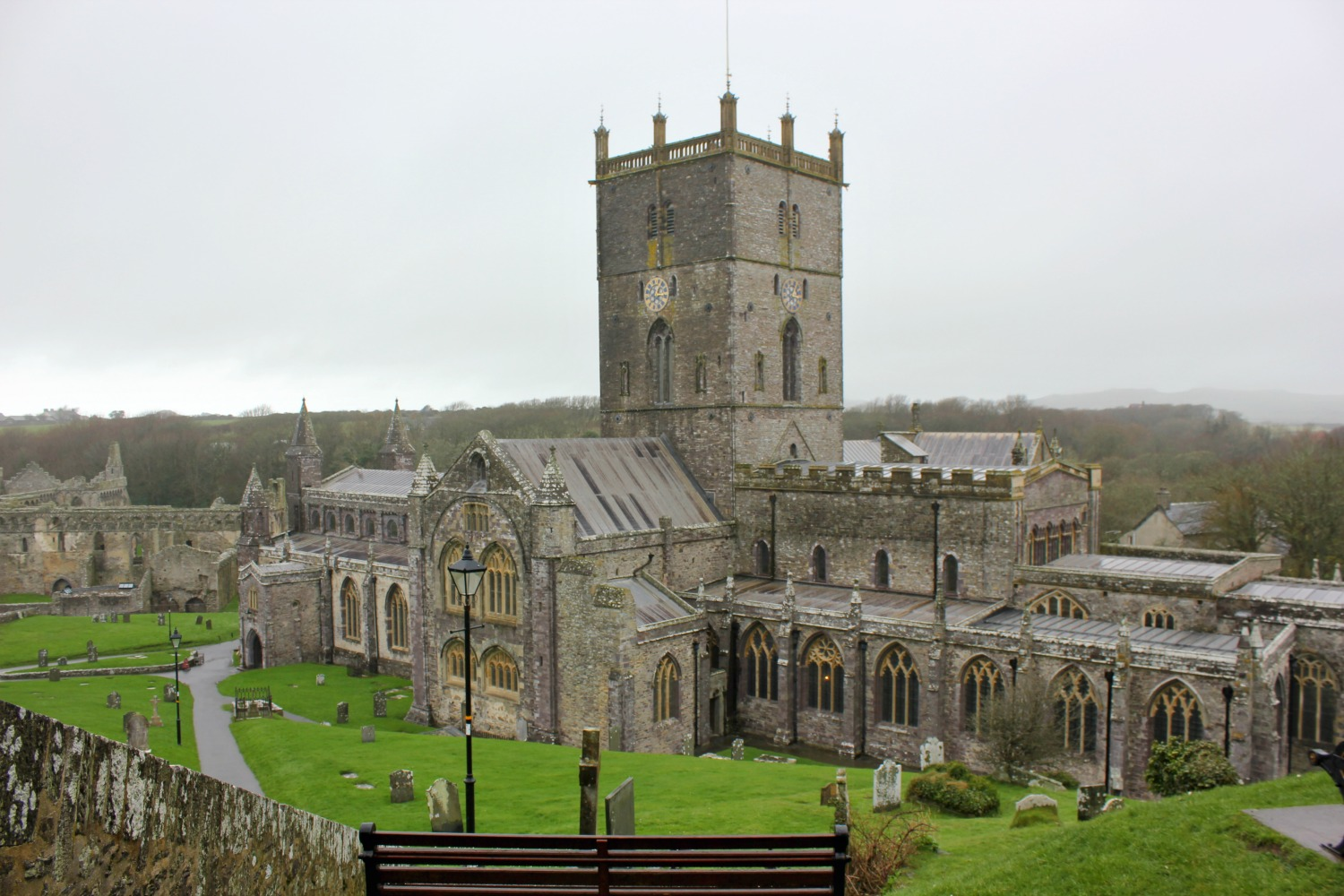 A view of St Davids cathedral in Wales - on our journey to discover Welsh legends