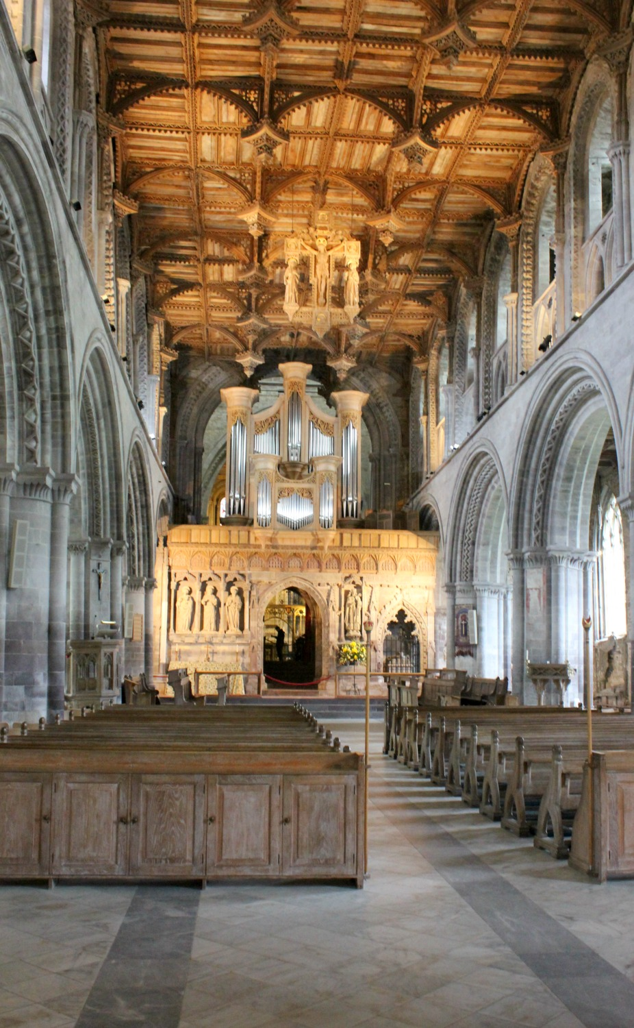 A view of the nave at St Davids Cathedral in Wales - on our journey to discover Welsh legends