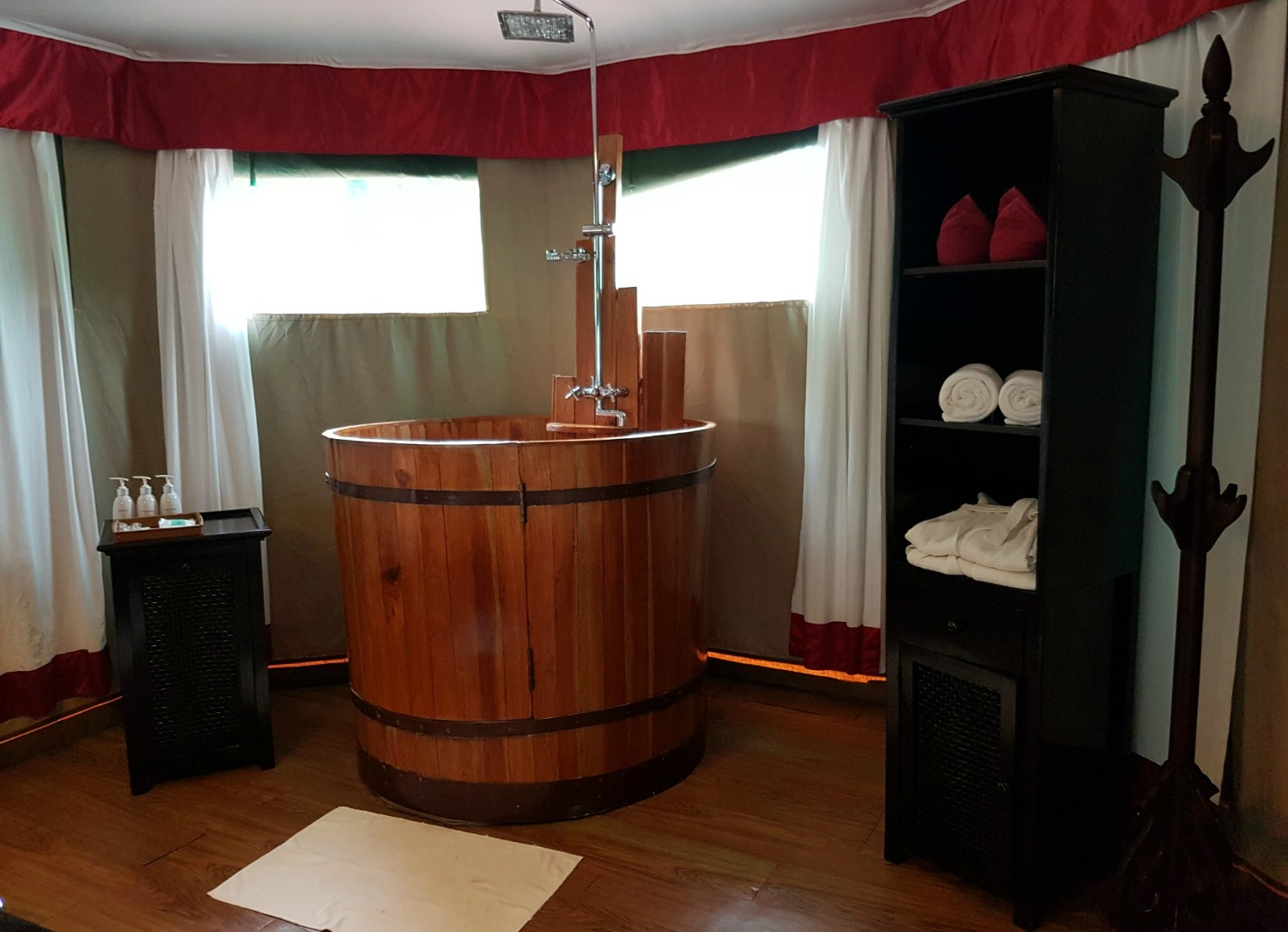 Bathroom in the floating tents at Four Rivers Floating Lodge - discovering Cambodia's Cardamom Mountains with kids