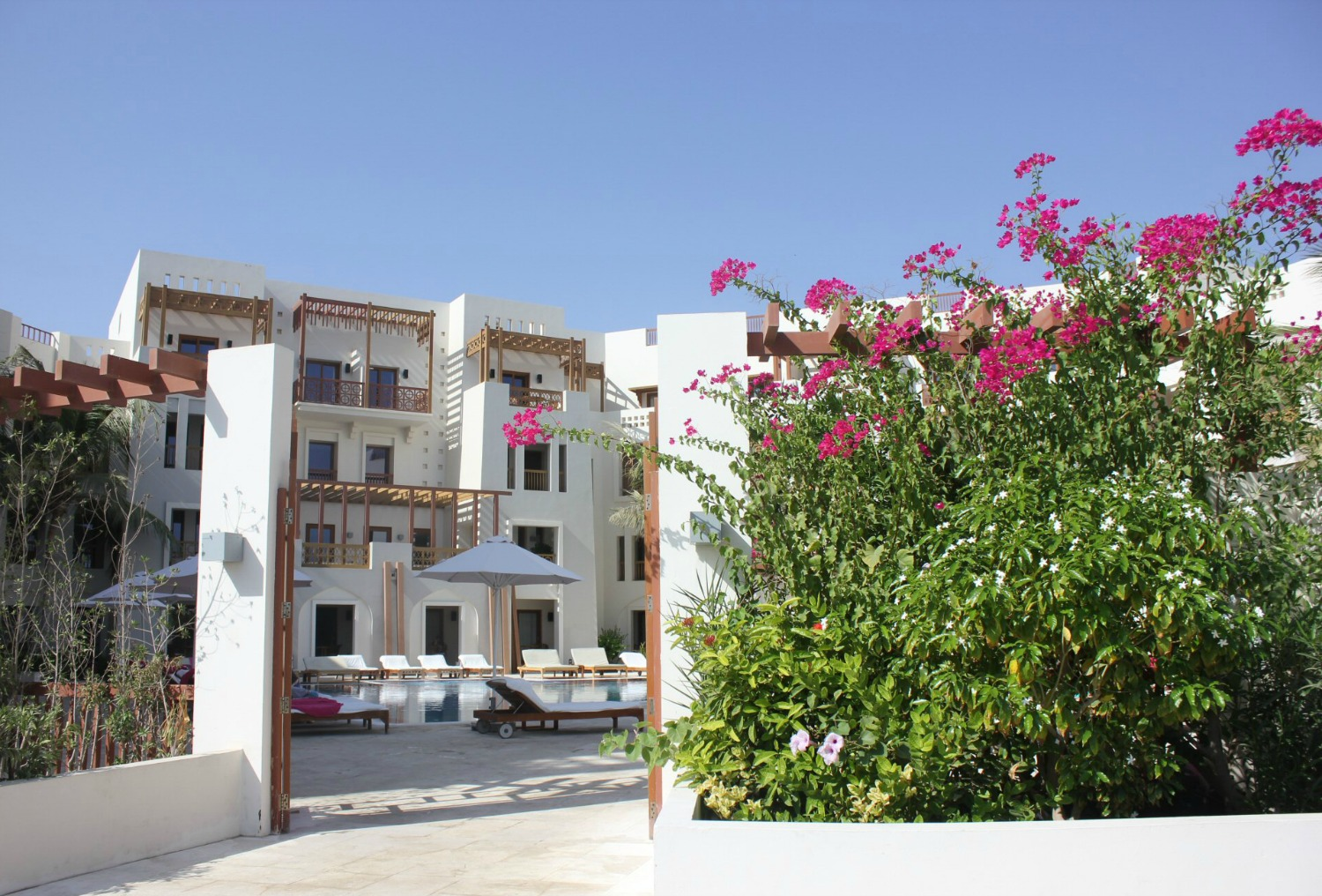 The white buildings of Sifawy Boutique Hotel seen through a gate with pink bougainvillea not far from Muscat, Oman - my nine reasons to visit Oman with kids