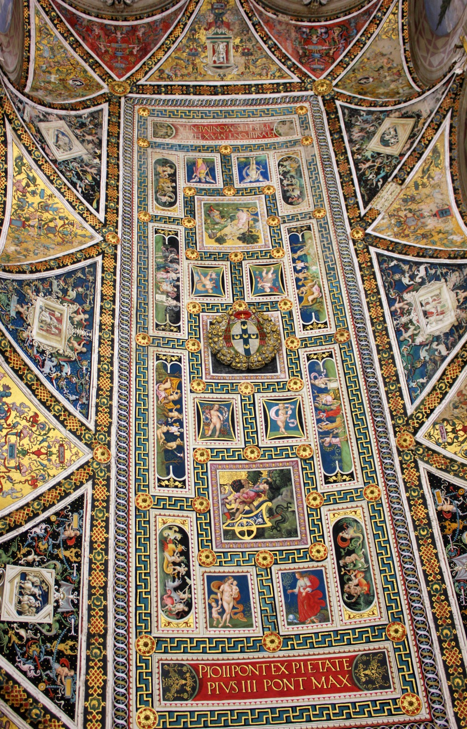 Ceiling of the library in the cathedral - exploring Siena with kids, our tour discovering art, history and animals