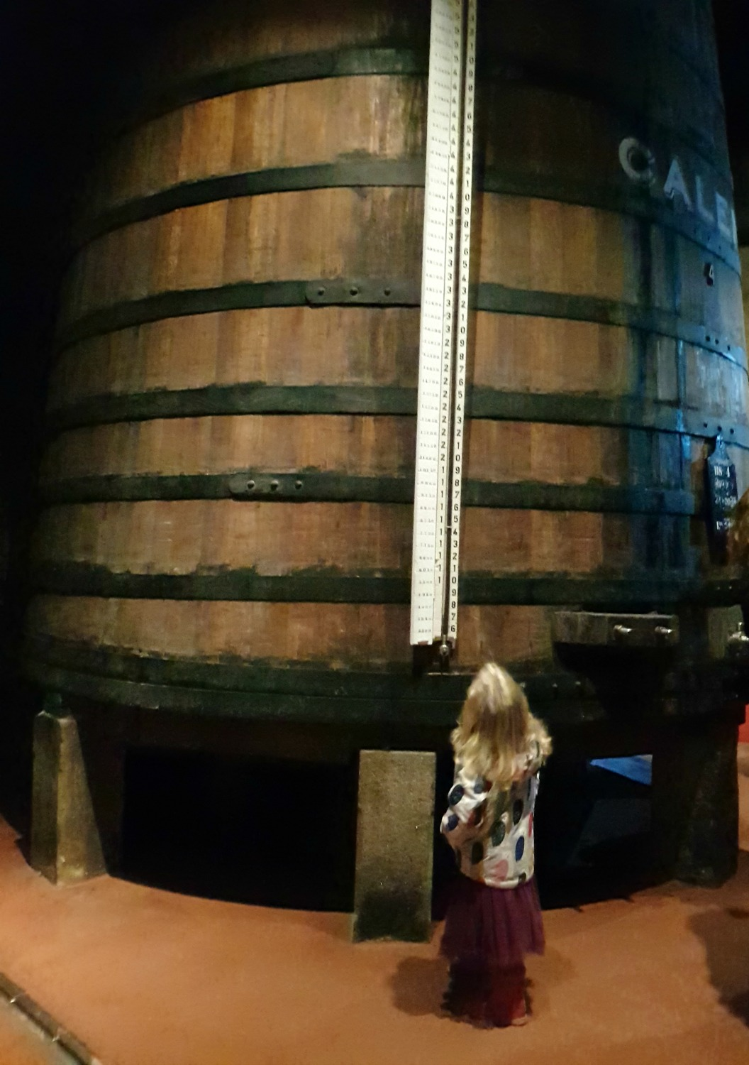 A girl looks at one of the huge port barrels in the cellar at Caves Calem in Vila Nova de Gaia, across the river from Porto - my Porto travel tips and lessons for visiting with kids